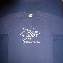 """Image of Harold L. Richards High School Prom T-Shirt - This item is a blue prom t-shirt from Harold L. Richards High School. It features silver lettering and the phrase """"A Moment Like This""""."""