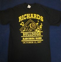 Image of Harold L. Richards High School Marching Band T-Shirt - This item is a black t-shirt from the Harold L. Richards High School Marching Band. It features yellow lettering and the image of a bulldog.