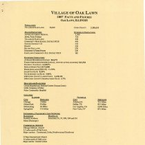 Image of Village of Oak Lawn Facts and Figures, 2007 - Publication created by the village which contains facts and statistics relating to Oak Lawn, as of the year 2007.  Information includes demographics, municipal government data, tax data, business data, sales tax revenue, and more.