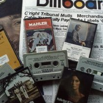 Image of Oak Lawn Public Library - This is a slide depicting the Oak Lawn Public Library during the 1970s. It features a view of a collection of music cassette tapes available in the Fine Arts department at the library.
