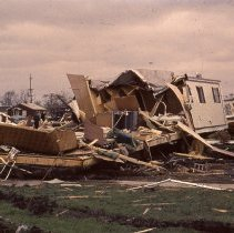 This Is A Slide Featuring The Aftermath Of 1967 Oak Lawn Tornado It Features View Damaged Mobile Homes And Debris In Airway Trailer Park
