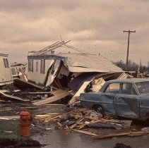 A Slide Featuring The Aftermath Of 1967 Oak Lawn Tornado It Features View Damaged Car And Demolished Mobile Homes In Airway Trailer Park