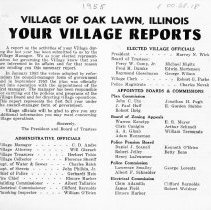 Image of Your Village Reports, 1955 - Brief annual report of the village distributed to its residents in 1955.  Includes lists of officials and information on police and fire protection.