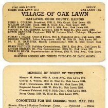 Image of Village of Oak Lawn Information Card, 1951 - Information card issued by the village of Oak Lawn which lists the various village officials.