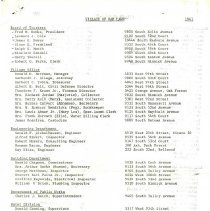 Image of Village of Oak Lawn Officials and Employees, 1961 - List of village officials and employees as of 1961.  Includes names, addresses, and position.