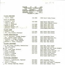 Image of Village of Oak Lawn Officials and Employees, 1964 - Roster of village officials and employees as of December 8, 1964.  Includes names, addresses, telephone numbers, and position.