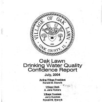 Image of Annual Drinking Water Quality Report, 2003 - A summary of the quality of water provided to its residents by the Village of Oak Lawn during 2003.  The body of the report consists primarily of lists of contaminants and the amount, if any, found in the water sample.