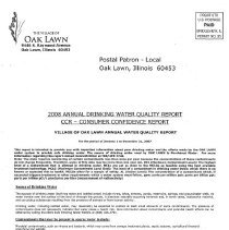 Image of Annual Drinking Water Quality Report, 2008 - A summary of the quality of water provided to its residents by the Village of Oak Lawn during 2007.  The body of the report consists primarily of lists of contaminants and the amount, if any, found in the water sample.