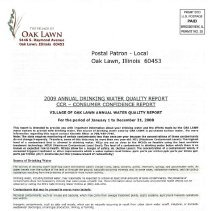 Image of Annual Drinking Water Quality Report, 2009 - A summary of the quality of water provided to its residents by the Village of Oak Lawn during 2008.  The body of the report consists primarily of lists of contaminants and the amount, if any, found in the water sample.