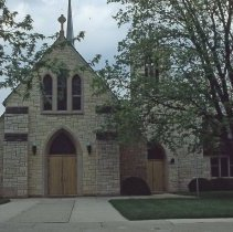 Image of Trinity Lutheran Church - This is a slide featuring a view of Trinity Lutheran Church located at 97th Street and Brandt Avenue circa 1979. The image shows an exterior view of the front entrance.