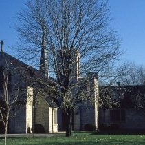 Image of Trinity Lutheran Church - This is a slide featuring a view of Trinity Lutheran Church located at 97th Street and Brandt Avenue circa 1979. The image shows an exterior view of the front entrance and south facade.