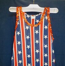 "Image of Bicentennial Celebration Costume - This item is a costume created for the 1976 Bicentennial Celebration. It is red, white and blue in color with white pants. That year Oak Lawn held a ""67 in 76"" event that commemorated the village's anniversary as well."