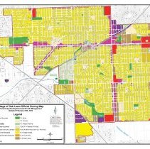 Image of 2012 Village of Oak Lawn Official Zoning Map - Official zoning map for the Village of Oak Lawn as of February 2012.  Fourteen different zoning districts are outlined and color-coded.