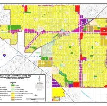 Image of 2014 Village of Oak Lawn Official Zoning Map - Official zoning map for the Village of Oak Lawn as of February 2014.  Fourteen different zoning districts are outlined and color-coded.