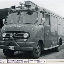 Image of 1956 Ford Gerstenslager Emergency Vehicle - This is a photograph of a 1956 Ford Gerstenslager emergency vehicle used by the Oak Lawn Fire Department.