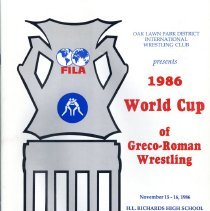 Image of World Cup of Greco-Roman Wrestling, 1986 - Booklet provided attendees of the 1986 World Cup of Greco-Roman Wrestling sponsored by the Oak Lawn Park District International Wrestling Club.  The event was held at the Harold L. Richards High School.  Includes schedule of events, photographs of participants and officials, and numerous advertisements of local businesses.