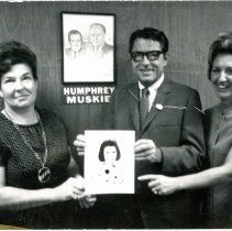 "Image of Southwest Suburban Women for Humphrey, 1968 - This is a photograph of the Southwest Suburban Women for Humphrey. From left: Mrs. Dohm, State Representative Harry ""Bus"" Yourell, and Mrs. Yourell."