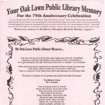 Image of Your Oak Lawn Public Library Memory, 2011 - The Oak Lawn Public Library celebrated its 75th anniversary in 2011.  To mark the occasion, patrons were asked to set down favorite memories relating to the library.  The completed forms were used to create a public display.  This is a compilation of the forms utilized.