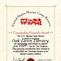 Certification of appreciation toys for tots program 1996 image of toys for tots certificate of appreciation 1996 yadclub Choice Image