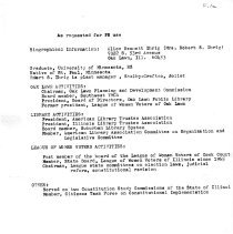 Image of Alice Ihrig Resume - Resume of Alice B. Ihrig listing her political accomplishments.
