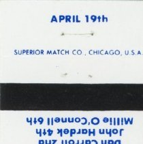 Image of Dr. Thomas V. Powell Matchbook - This item is a matchbook promoting Dr. Thomas V. Powell for Mayor of Oak Lawn. It features an image of Powell and lists other members of the Homeowners Party including Bob Krolak, Dan Caroll, John Hardek and Millie O'Connell.