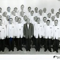 Image of Southwest Suburban Chapter of the S.P.E.B.S.Q.S.A.  - This is a photograph of the Southwest Suburban Chapter of the S.P.E.B.S.Q.S.A. (Society for the Preservation and Encouragement of Barbershop Quartet Singing in America)  l-r: Row 1: Fred France, Ron Dexheimer, Roger Caruso, Jack Baird, Robert Folk, Robert Vahl; Row 2: Clair De Frew, Paul Eilers, Donald Moran, Don Boland, Robert Howard, Larry Maus, Bud Bearby; Row 3: Harold Ray, Don Peddycord, Bus Hirons, Ken Huggins, Bliss Frye, Harvard Johnson, Les Dixon; Row 4: Henry Spingola, Fred Eastman, Robert Mentor, Dale Polson, George Peters, Jim Albini, Ted Rahn, Charles Huet, Al Moritz.