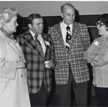 Image of Simmons Junior High School - This is a photograph of the rededication of Simmons Junior High School. l-r: Alice Ihrig, candidate for Illinois House of Representatives; Lewis Ahner, Jr., District 122 school board member; Herb Huskey, candidate for Illinois House of Representatives; Mrs. J. Schultz, PTA member.