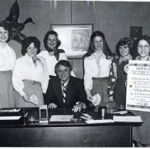 Image of 'Gerald's Sings America' Ticket Campaign - This is a photograph of the launching of a ticket campaign for St. Gerald annual show, 'Gerald's Sings America.' l-r: Beth Thiess, Sharon Gregory, Nancy Moorman, Harry 'Bus' Yourell, Sue Sanka, Kathy Cronin, Donna Morgan.