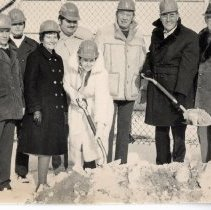 Image of Senior Citizen Center Groundbreaking - This is a photograph of the groundbreaking ceremony for the Village of Oak Lawn Senior Citizen Center located at 5330 W. 95th Street. l-r: Gerald Orris, equipment maintenance superintendent; Karl Faitz, building and zoning director; Mildred O'Connell, Trustee; Lawrence Lux, civil engineer; Peg Grell, finance director (with shovel); Norman Bacon, engineering, planning and traffic director; Harold Bacon, Trustee (with shovel); John Cleveland, Trustee.