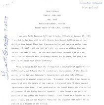 Image of Tunis L. Collings Oral History Transcript - This item is an oral history transcript from Oak Lawn mayor and resident Tunis L. Collings. It describes his early life in the Village, participation in local politics, and various projects he was involved in.