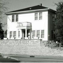 Image of 4108 W. 103rd Street House - This is a photograph of a house located at 4108 W. 103rd Street. The Beaudry Nurseries Company was located on this property. The house was built in 1917 but was not actually incorporated into Oak Lawn until 1929. The home is white frame with a colonial style pillared entry, and was originally located on 160 acres spanning from 99th Street to 103rd Street and from Crawford (Pulaski) to Kostner Avenue. Some of the evergreens from the old nursery still remain on the property along Keeler and Kedvale Avenues.
