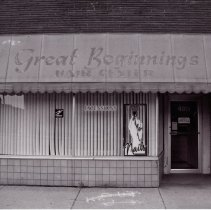 Image of 95th Street Oak Lawn Businesses - This is a photograph of Great Beginnings Hair Center located at 4919 W. 95th Street.  It features the storefront windows and the sign above.
