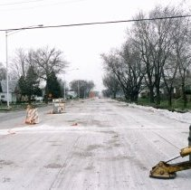 Image of 95th Street and Central Avenue - This is a photograph of repair work at 95th Street and Central Avenue. This picture features of view of the new lanes added to Central Avenue looking north from 95th Street.