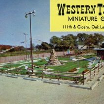 Image of Western Trails Miniature Golf Postcard - This item is a postcard featuring Western Trails Miniature Golf located at 111th Street and Cicero Avenue in Oak Lawn. The front features an image of the course while the back has a score card and list of rules.