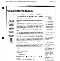 Image of Your Memories of the Oak Lawn Tornado - Reminiscences regarding the Oak Lawn tornado of 1967. These memories were recorded on the website oaklawntornado.com from January 1, 2007 to April 28, 2009. In 2009 they were printed and assembled in a binder.