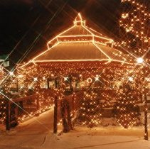 Image of Village Green Gazebo - This is a photograph of the gazebo, located on the Village Green near Dumke Drive and Cook Avenue, decorated for the Christmas season.