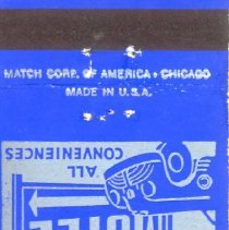Image of Blue Star Motel Matchbook - This item is a matchbook from the Blue Star Motel located at 10255 Harlem Avenue in present day Chicago Ridge. It is blue in color and features silver lettering.