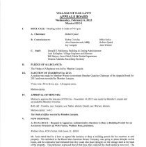 Image of Appeals Board Minutes, 2013 - Minutes of the Oak Lawn Appeals Board for the year 2013.