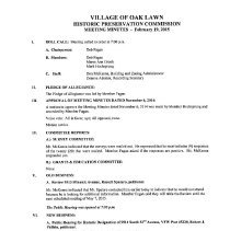 Image of Village of Oak Lawn Historic Preservation Commission Minutes, 2015 - Minutes of the Village of Oak Lawn Historic Preservation Commission for the year 2015.