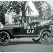 Image of Oak Lawn Round-Up Days - This is a photograph of an early automobile labeled 'Squat Car' in the Oak Lawn Round-Up parade.