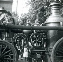 Image of Oak Lawn Round-Up Days - This is a photograph of an early steam fire engine in the Oak Lawn Round-Up parade.