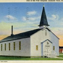 Image of Chanute Airfield Postcard - This item is a postcard written from Bob Wise to his parents Mr. and Mrs. Charles Wise. The front features an image of a chapel at Chanute Airfield formerly located in Rantoul, Illinois. At the time, Bob was serving in the armed forces during World War II. The postcard was sent to 8150 Archer Avenue which was then listed as being in Oak Lawn.