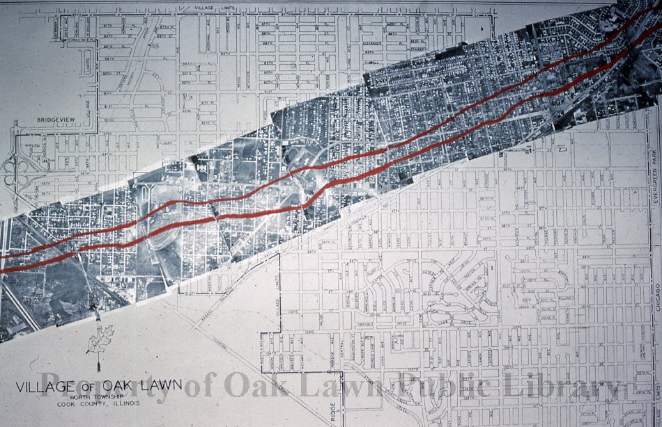 Aftermath of the 1967 Oak Lawn Tornado This is a slide of the