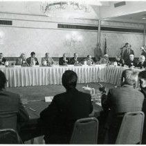 Image of Meeting of Mayors with President Ford - This is a photograph of a meeting of mayors with President Ford, held in Skokie, Illinois.  President Gerald Ford is 5th from left and Fred M. Dumke is 8th from left.