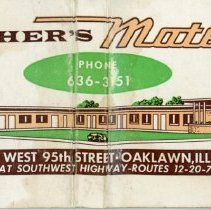 Image of Fisher's Motel Matchbook - This item is a matchbook from Fisher's Motel located at 5920 West 95th Street in Oak Lawn. It is white in color and features an image of the motel.