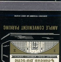 Image of Chateau Bu-sche' Matchbook - This item is a matchbook from Chateau Bu-sche' located at 10312 South Cicero Avenue in Oak Lawn. The item is black in color and features an image of the restaurant's exterior.