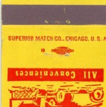 Image of Gateway Motel Matchbook - This item is a matchbook from the Gateway Motel located at 4657 West 95th Street. It features a red and yellow cover with the image of a sign.