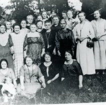 Image of Trinity Lutheran Church Ladies Aid Society - This is a photograph of the Ladies Aid Society of the Trinity Evangelical Lutheran Church in Schultz' Grove. The Ladies Aid Society was founded in 1916. The members are unidentified.