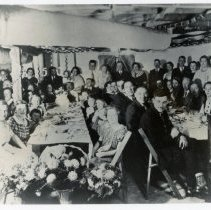 Image of Walter Wedding Anniversary - This is a photograph of Mr. and Mrs. Anton (Magdalena) Walter and their friends celebrating their 50th wedding anniversary at 103rd Street near Crawford Avenue. The Walters were early resident of the southeastern section of Oak Lawn, having come in 1922. Their daughter, Mrs. Stanley (Kay (Katherine)) Tribe, and her family lived in the old family home on 103rd Street near Crawford Avenue (4035 W. 103rd Street) until the early 1960s.