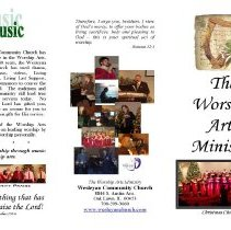 Image of Worship Arts Ministry, 2011 - Brochure published by the Wesleyan Community Church, located at 8844 S. Austin Avenue.  The pamphlet details the various positions and activities that members may become involved in should they wish to play a more active role in the regular services.